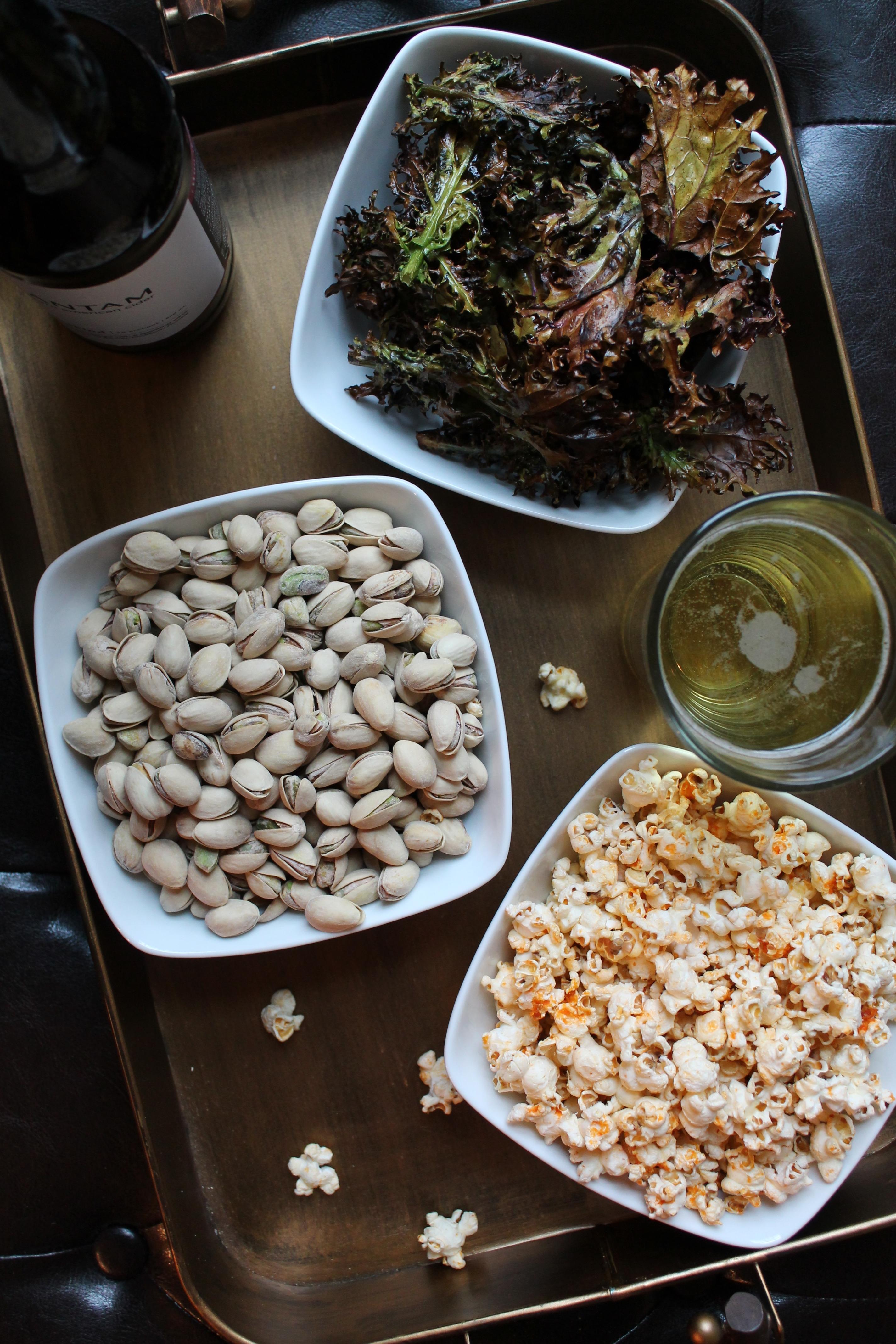 Ultimate Super Bowl Snack Trio: Pistachios + Salt & Vinegar Kale Chips ...