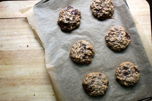 Dark Chocolate Almond Oatmeal Cookies with Sea Salt | Peace, Love, and Food