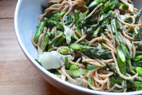 Peppery Spring Pasta with Fava & Asparagus (cacio e pepe)