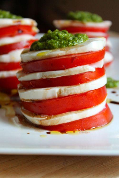 Tomato and Mozzarella Salad with Garlic Scape Pesto   Peace, Love, and Food